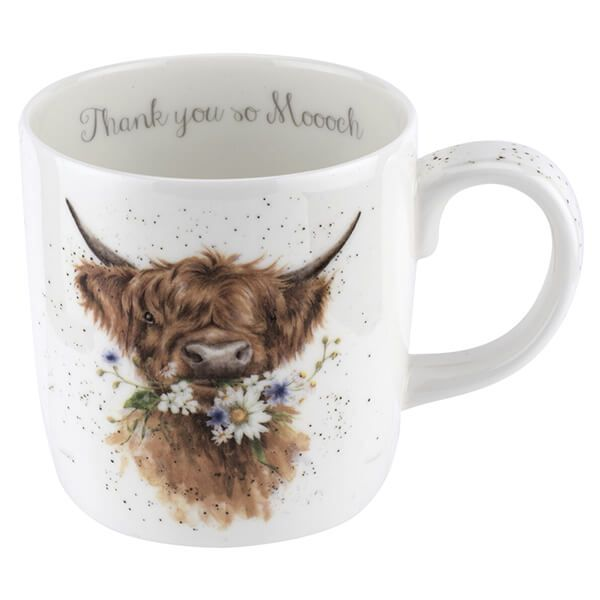 Wrendale Designs Large Fine Bone China Mug Thank You, Cow