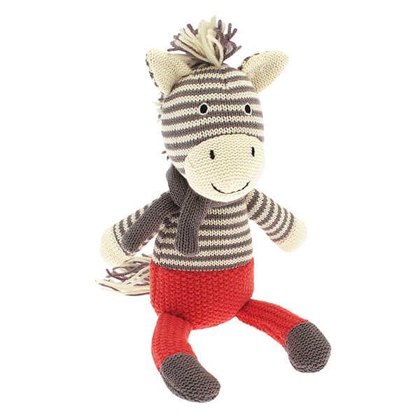 Walton & Co Knitted Grey Zebra Toy