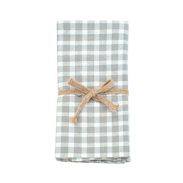 Walton & Co Portland Check Napkin Set Of 4 Dove Grey