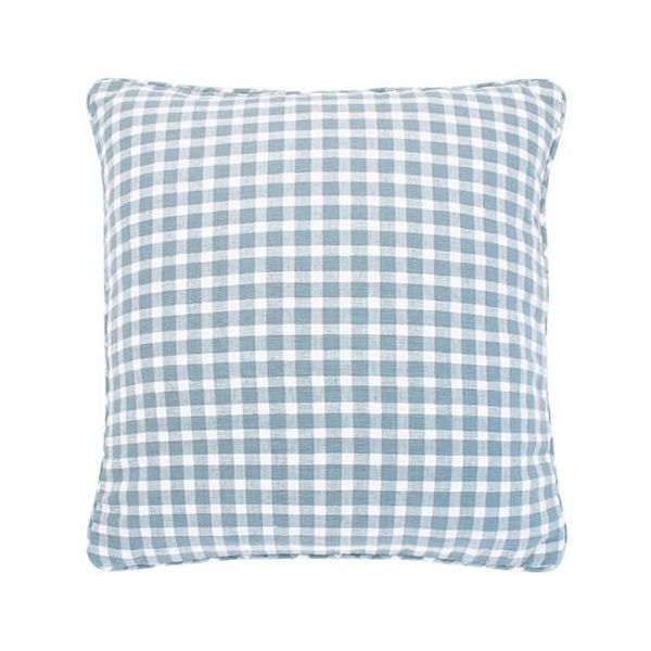 Walton & Co Portland Check Cushion Blue Cedar Poly Filled