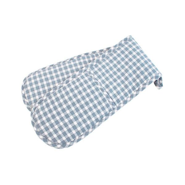 Walton & Co Portland Check Double Oven Glove Blue Cedar