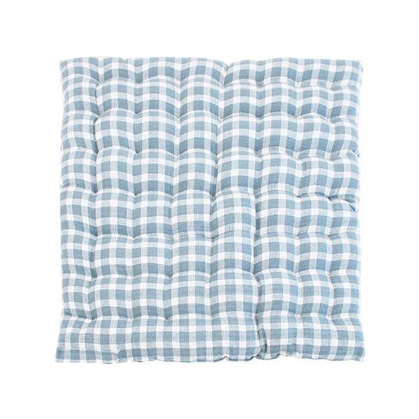 Walton & Co Portland Check Squab Seat Pad Blue Cedar