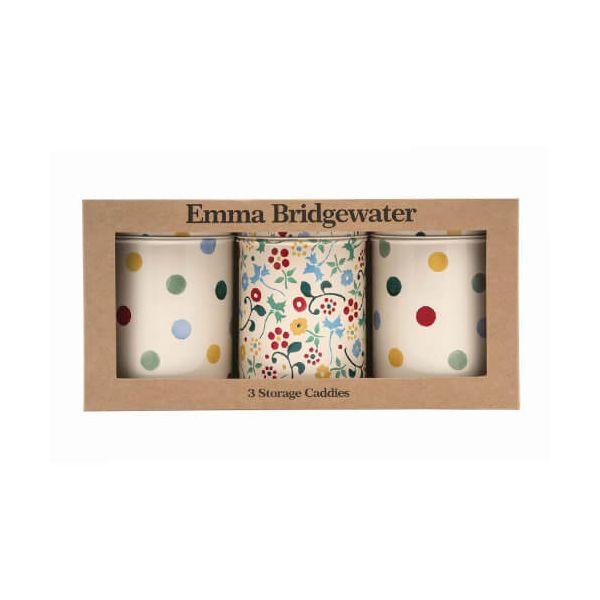 Emma Bridgewater Polka Dot Floral Set Of 3 Caddies