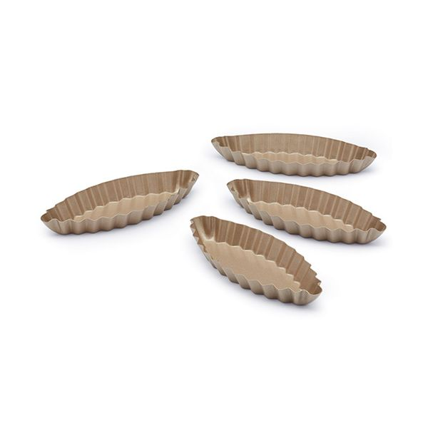 Paul Hollywood Non-Stick Set Of 4 Mini Oval Fluted Tart Pans