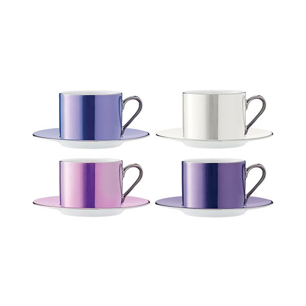 LSA Polka Pastel Tea Cup & Saucer 250ml Set Of Four