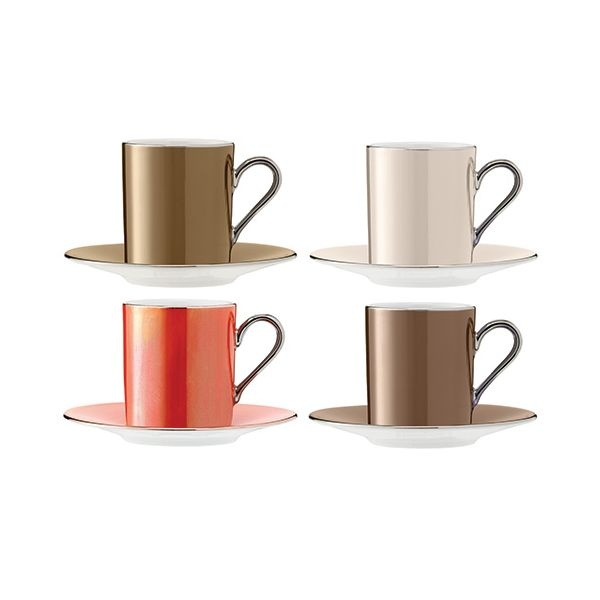 LSA Polka Metallics Coffee Cup & Saucer 100ml Set Of Four