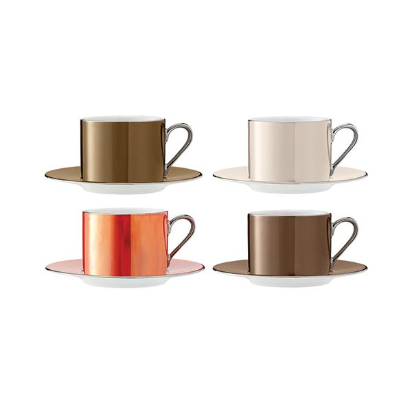 LSA Polka Metallics Tea Cup & Saucer 250ml Set Of Four