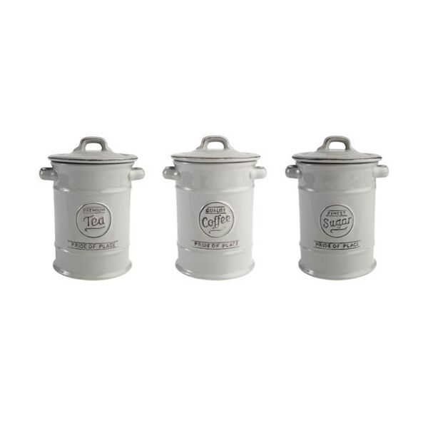 T&G Pride Of Place Set Of 3 Storage Jars In Cool Grey