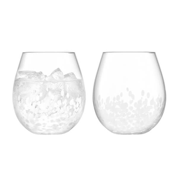 LSA Stipple Tumbler 425ml White Speckle Set Of Two