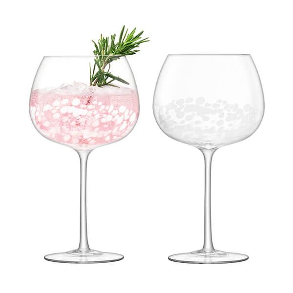 LSA Stipple Balloon Goblet 650ml White Speckle Set Of Two