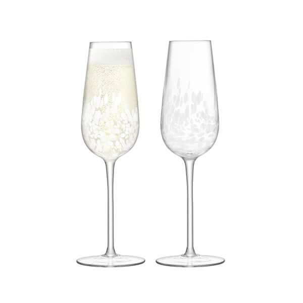 LSA Stipple Champagne Flute 250ml White Speckle Set Of Two