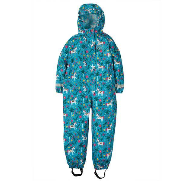 Frugi Organic Teal Indian Horse Rain Or Shine Suit