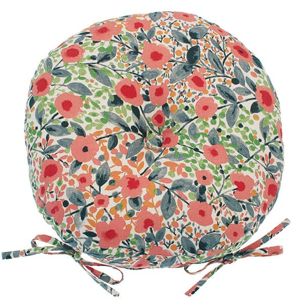 Walton & Co Provence Round Seat Pad with Ties