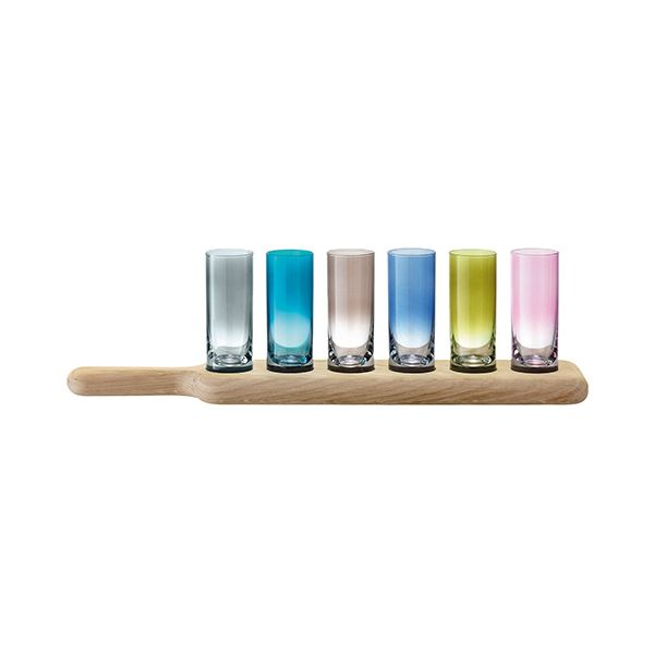 LSA Paddle Vodka Set & Oak Paddle 40cm Assorted Colours