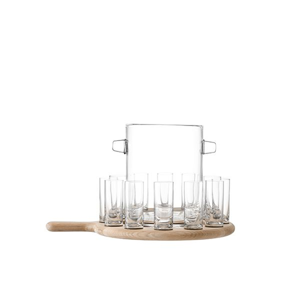 LSA Paddle Vodka Serving Set & Oak Paddle Clear