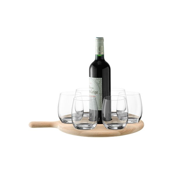 LSA Paddle Water / Wine Serving Set & Oak Paddle 40cm Clear