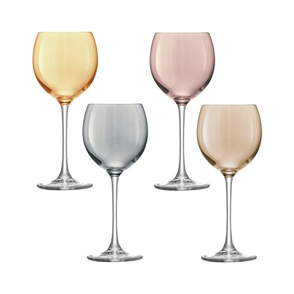 LSA Polka Metallics Wine Glass 400ml Set Of Four