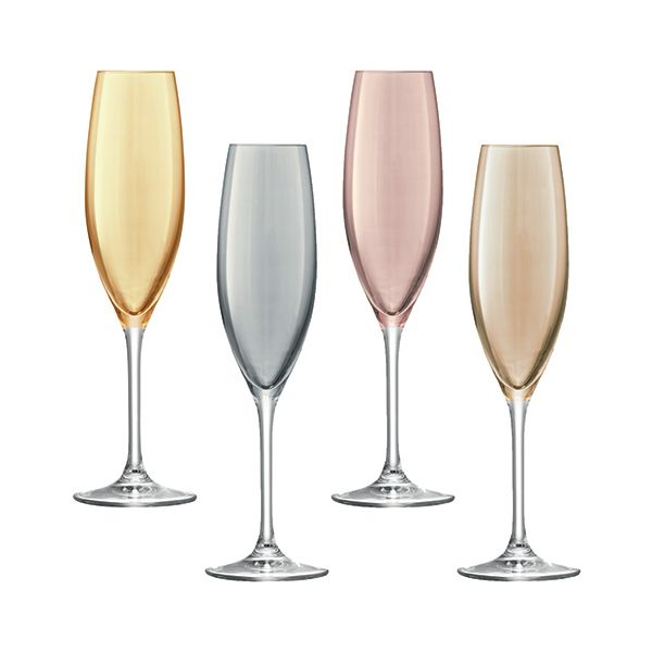 LSA Polka Metallics Champagne Flute 225ml Set Of Four