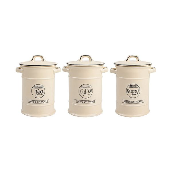 T&G Pride Of Place Set Of 3 Storage Jars In Old Cream