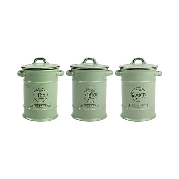 T&G Pride Of Place Set Of 3 Storage Jars In Old Green