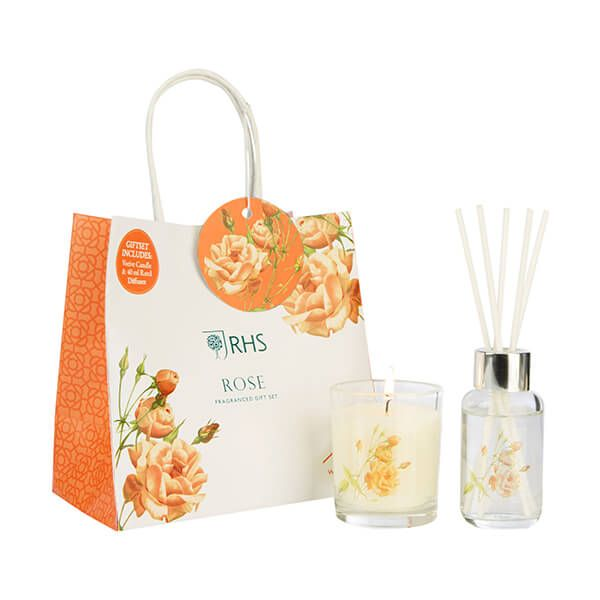 Wax Lyrical RHS Fragrant Garden Rose Candle & Reed Diffuser Gift Set