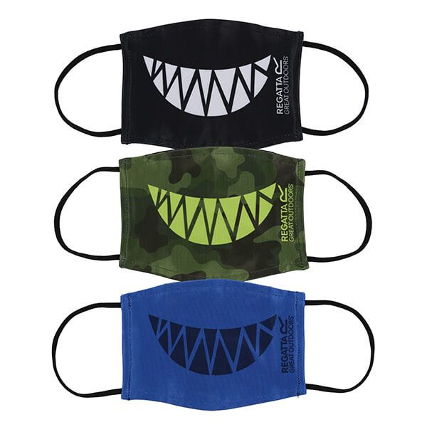 Regatta Pack of Three Kids Face Masks - Camo Teeth, Nautical Blue Teeth and Black Teeth