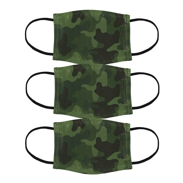 Regatta Pack of Three Kids Face Masks - Racing Green Camo