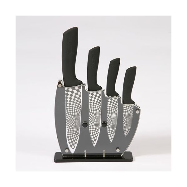 Rocknife 4 Piece Ceramic Knife Set Black With FREE Knife Block