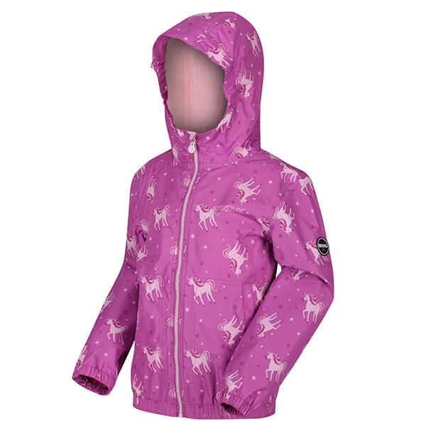 Regatta Kids Ellison Printed Lightweight Waterproof Hooded Jacket Radiant Orchid Pink