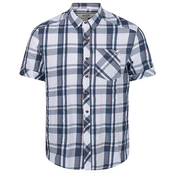 Regatta Men's Deakin III Short Sleeve Checked Shirt White Dark Denim