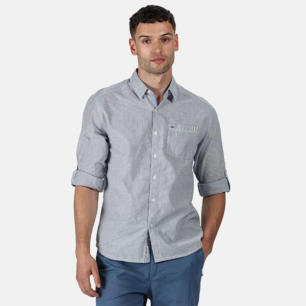 Regatta Men's Banning Coolweave Long Sleeved Shirt Blue Ticking Stripe