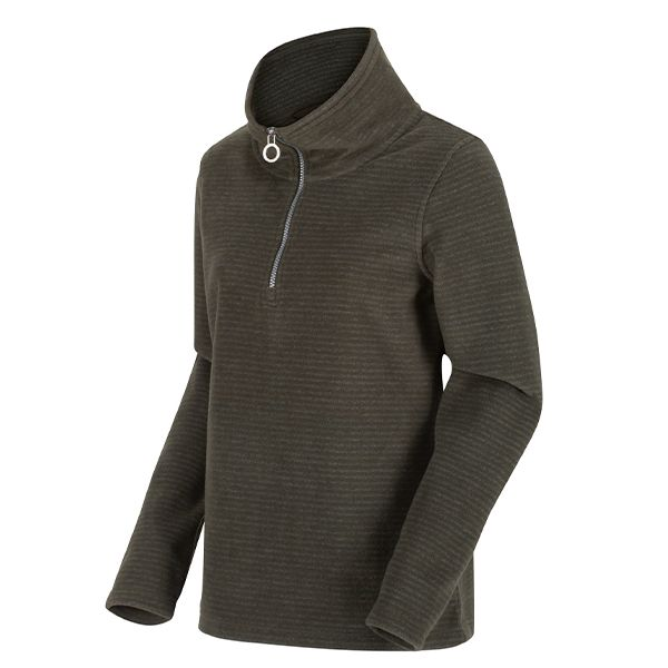 Regatta Dark Khaki Solenne Half Zip Stripe Fleece