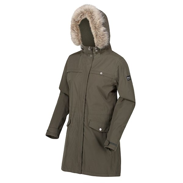 Regatta Dark Khaki Serleena II Waterproof Insulated Fur Trimmed Hooded Parka Jacket