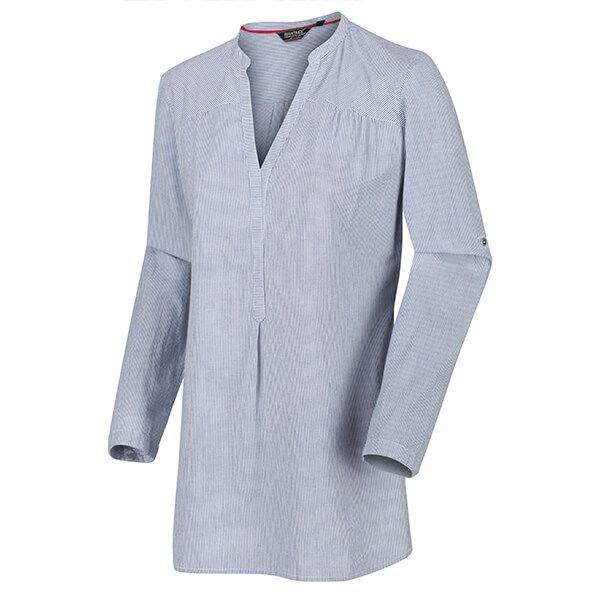 Regatta Women's Maelie Long Length Half Button Shirt Blue Ticking Stripe