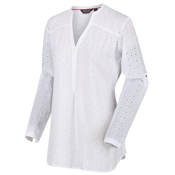 Regatta Women's Maelie Long Length Half Button Shirt White