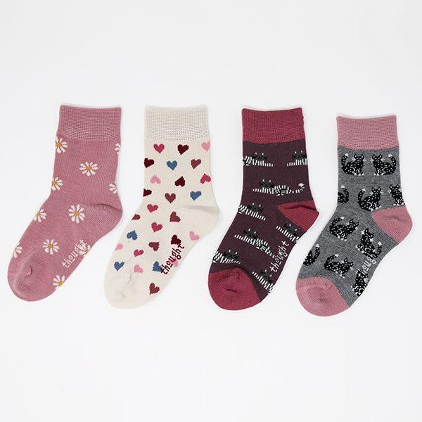 Thought Multi Kitty Bamboo Organic Cotton Blend 4 Pack Kids Socks Gift Box