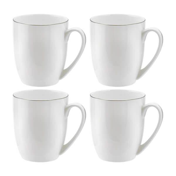 Royal Worcester Serendipity Platinum Set of 4 Barrel Shape Mugs