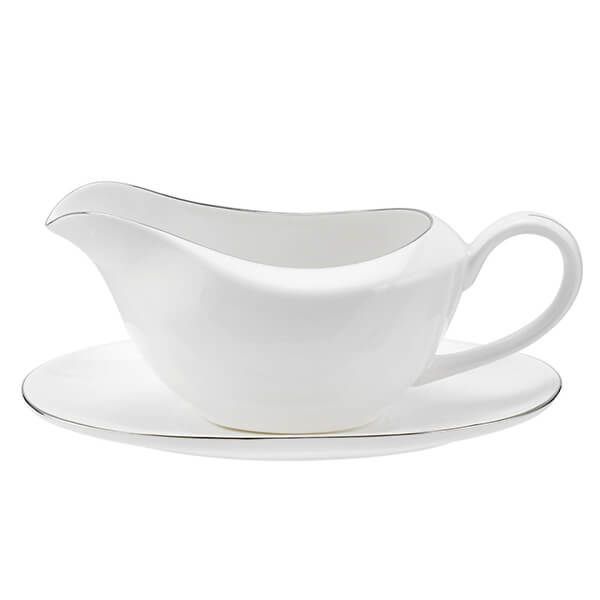 Royal Worcester Serendipity Platinum Sauce Boat and Stand