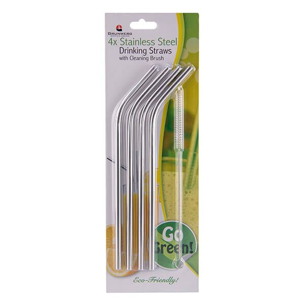 Grunwerg Stainless Steel 5 Piece Straw Set