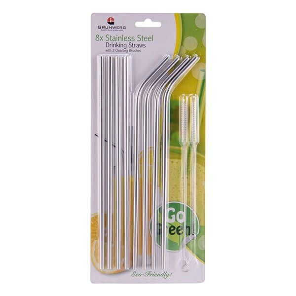 Grunwerg Stainless Steel 10 Piece Straw Set