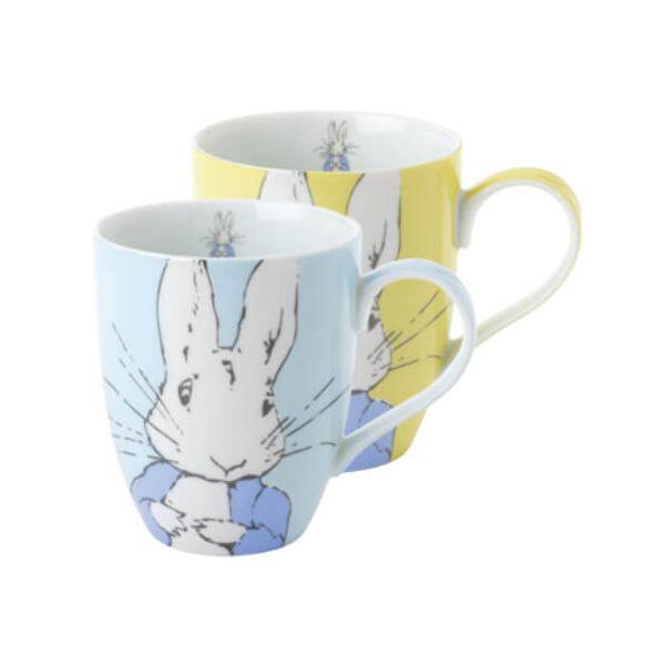 Peter Rabbit Contemporary Mug Set of 2 Blue & Yellow