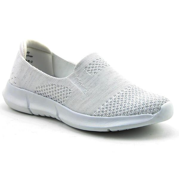 Heavenly Feet Holly White/Silver Ath-Leisure Comfort Shoes