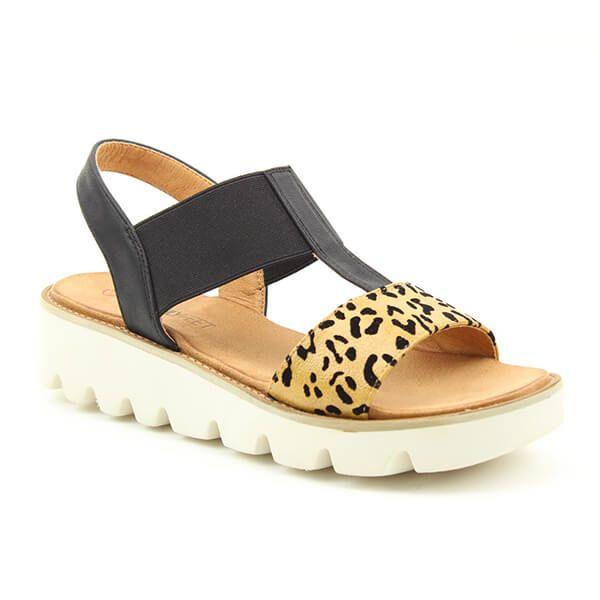 Heavenly Feet Ritz Black Leopard Premium Sandals