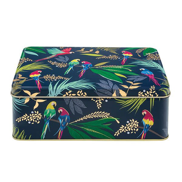 Sara Miller Parrot Deep Rectangular Tin