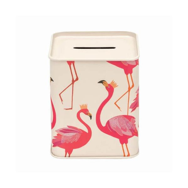 Sara Miller Money Box Flamingo Tin