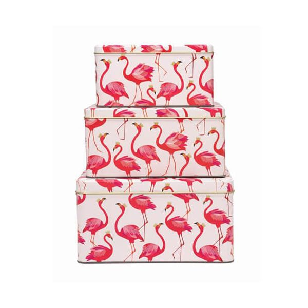 Sara Miller Flamingo Set Of 3 Square Cake Tins