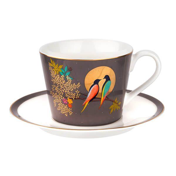 Sara Miller Chelsea Collection Dark Grey Tea Cup & Saucer