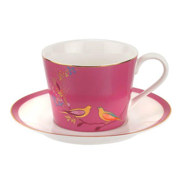 Sara Miller Chelsea Collection Pink Tea Cup & Saucer