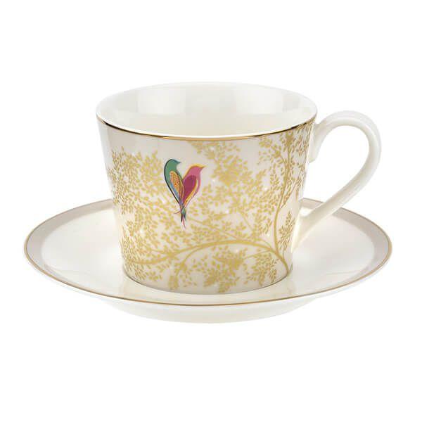 Sara Miller Chelsea Collection Light Grey Tea Cup & Saucer