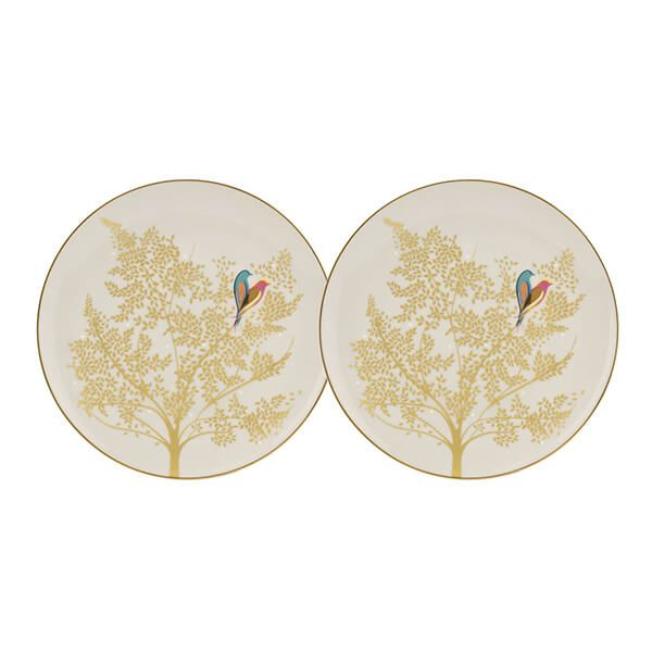 Sara Miller Chelsea Collection Set of 2 Light Grey Cake Plates